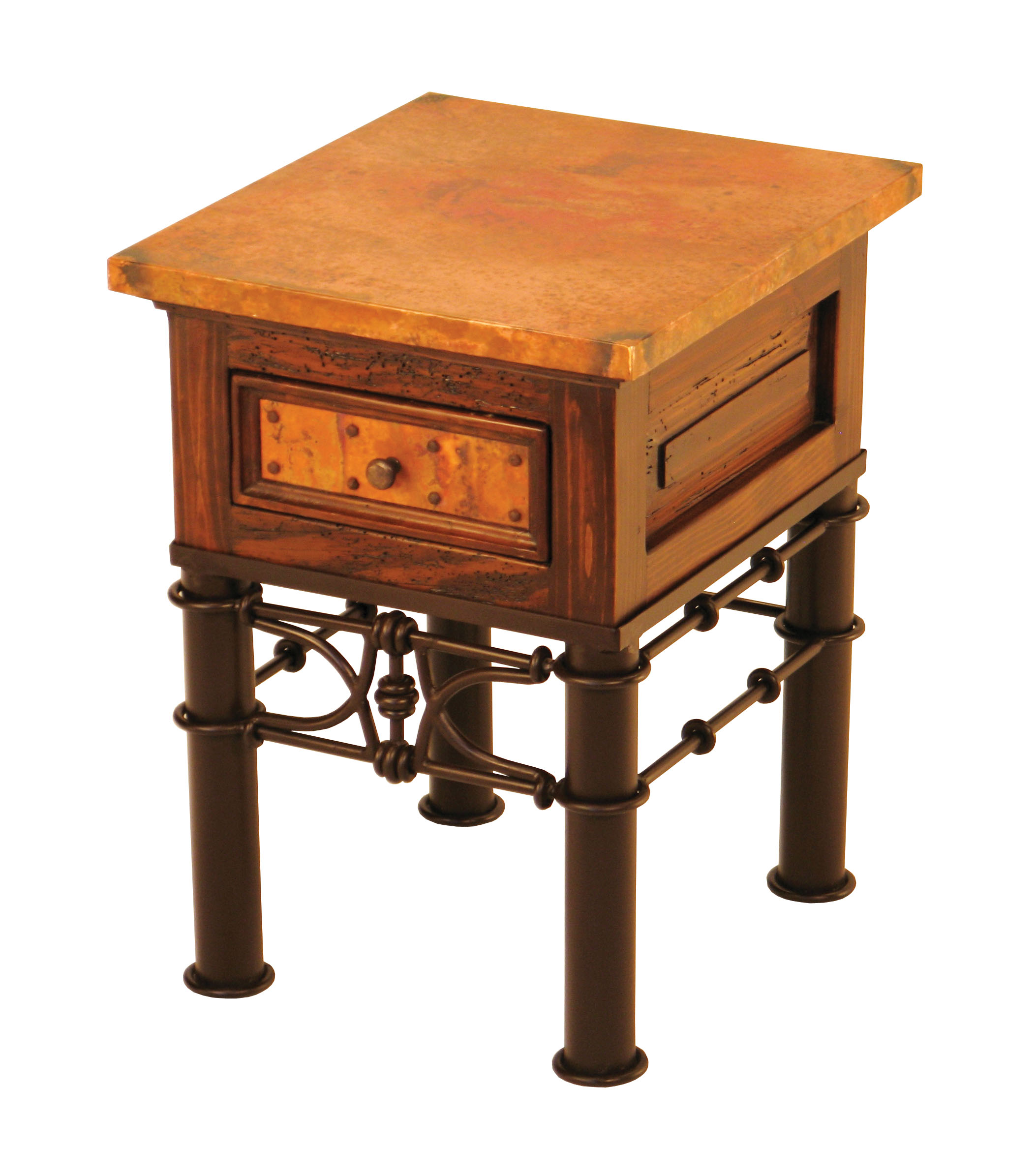 1 Drawer End Table W Pablo Base Amp Copper Small Mr