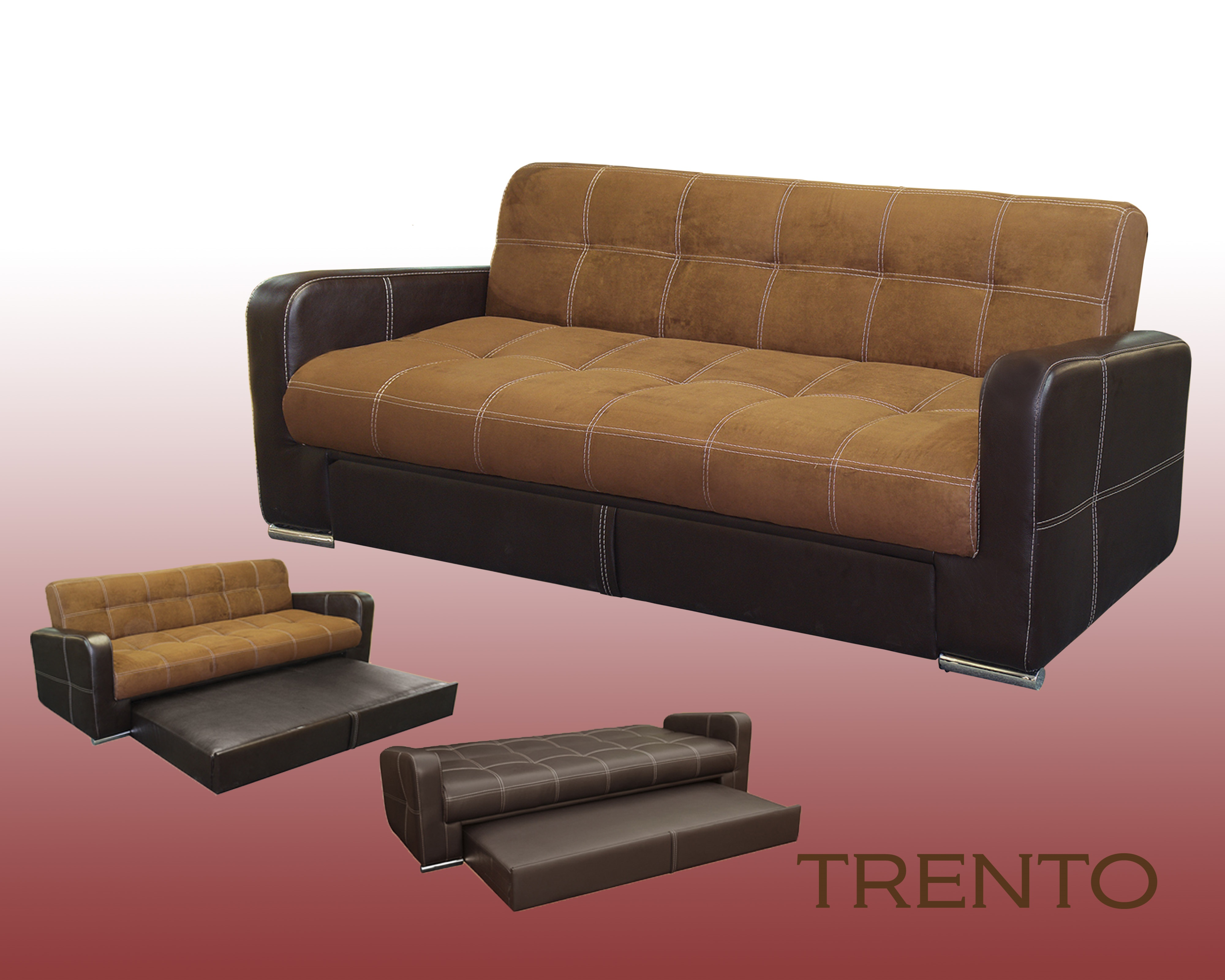 3 position sofa bed chocolate with trundle trenton mr. Black Bedroom Furniture Sets. Home Design Ideas