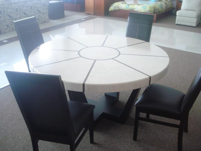 8 person marble round dining table | Mr Vallarta's
